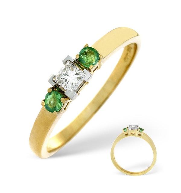 Emerald And 0.15CT Diamond Ring 18K Yellow Gold - image 1