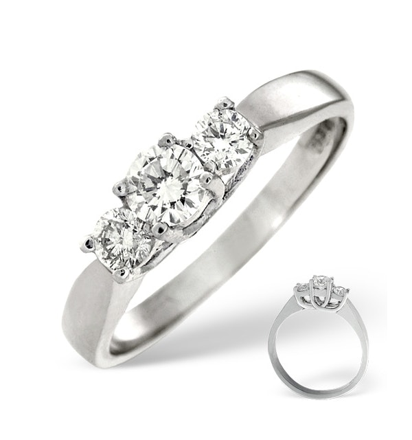 Ariella Platinum 3 Stone Diamond Ring 0.50CT H/SI - image 1