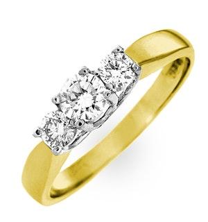 Ariella 18K Gold 3 Stone Diamond Ring 1.50CT G/VS