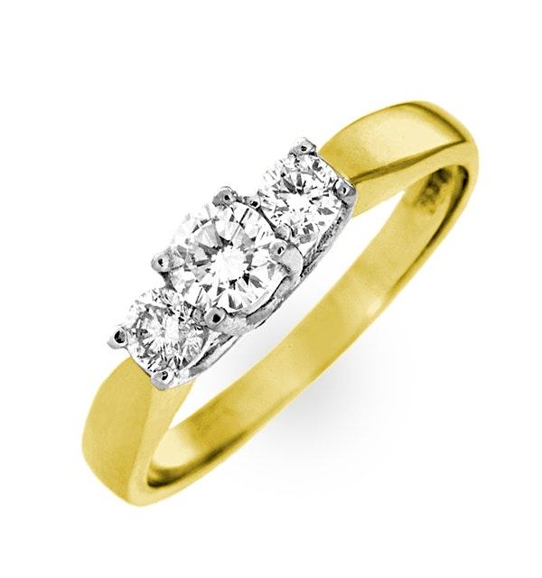 Ariella 18K Gold 3 Stone Diamond Ring 1.00CT H/SI - image 1