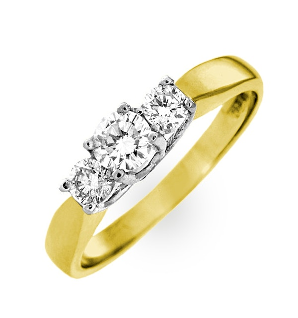 Ariella 18K Gold 3 Stone Diamond Ring 1.00CT H/SI - image 1