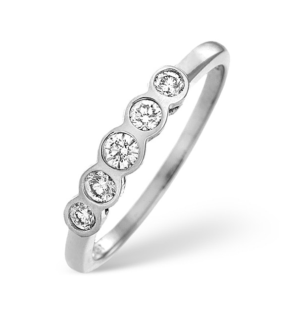 Certified 1.05CT 18K White Gold Five Stone Diamond Rubover Ring - image 1