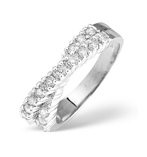 Diamond 0.50CT 18K White Gold Cross-Over Ring - image 1