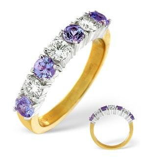 Tanzanite 0.70CT and Diamond Ring 0.50CT 18K Gold FT32