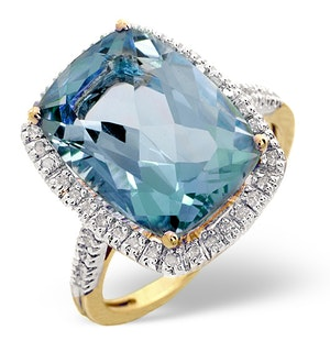 Blue Topaz 6.83CT And Diamond 9K Yellow Gold Ring - SIZE K ONLY