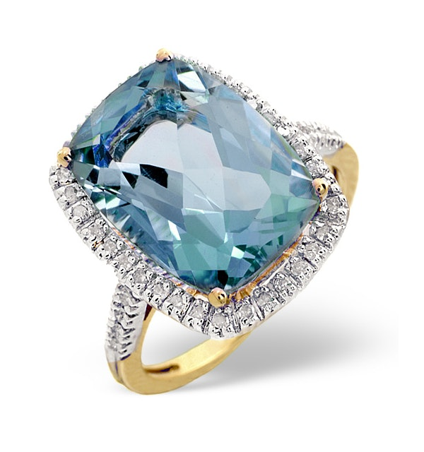 Blue Topaz 6.83CT And Diamond 9K Yellow Gold Ring - SIZE K ONLY - image 1