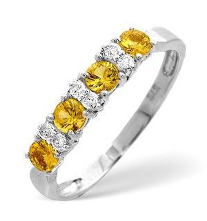 Yellow Sapphire 0.60ct and Diamond 0.09ct 9K Gold Ring - RTC-E5587