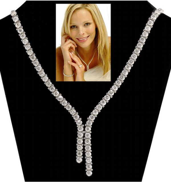 10.00ct Diamond Necklace Set in 18K White Gold - image 1