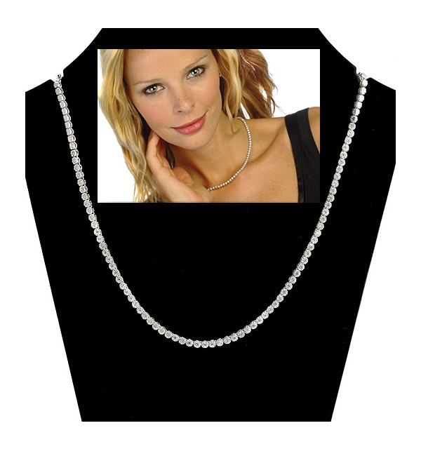 1.50ct Diamond Necklace Set in 18K White Gold - image 1