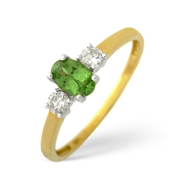 18K Gold Diamond Tsavorite Ring 0.20ct - image 1