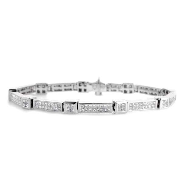 Diamond 4.25ct 18K White Gold Bracelet - RTC-J3250 - image 1