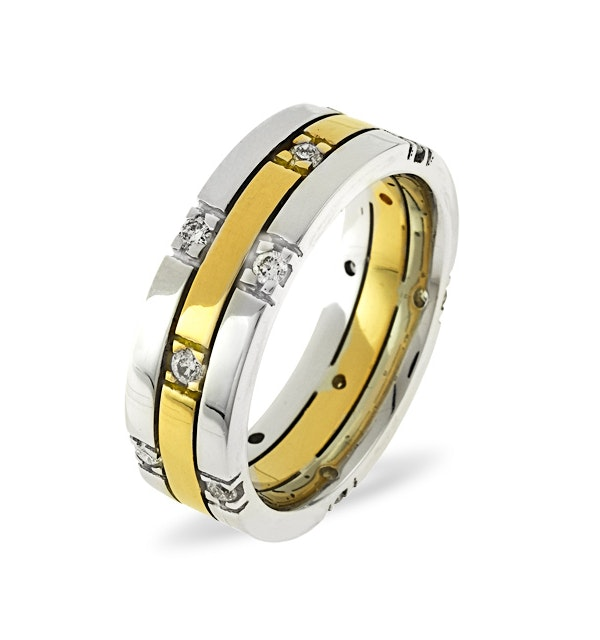 Mens 0.37ct H/Si Diamond 18K Gold Dress Ring - image 1