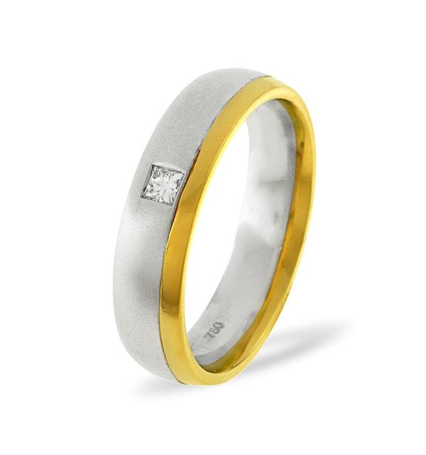 Mens 0.08ct H/Si Diamond 18K Gold Dress Ring - image 1