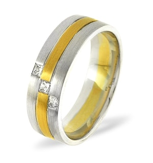 Lauren  0.07CT H/SI Diamond and 18K Two Tone Wedding Ring