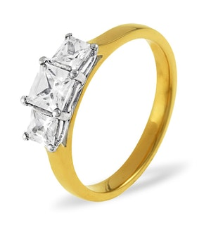 Lauren 18K Gold 3 Stone Diamond Ring 1.50CT H/SI