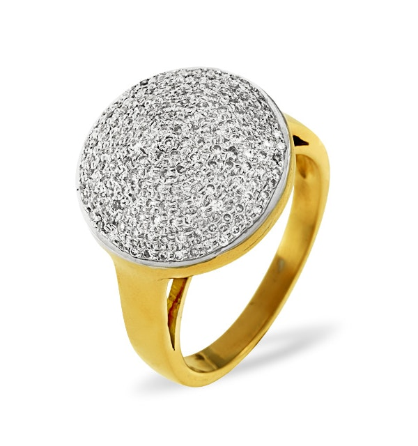 18K Gold Diamond Pave Ring 0.54ct H/si - image 1