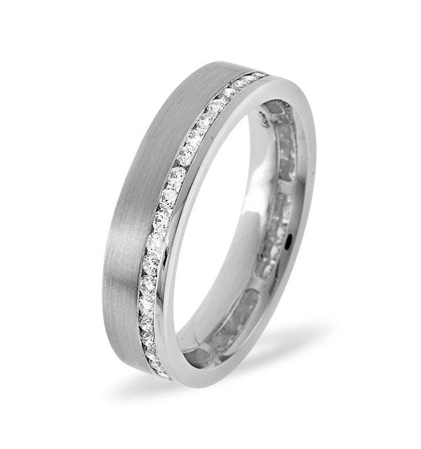 Mens 0.54ct H/Si Diamond 18K White Gold Dress Ring - image 1