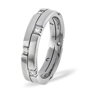 Mens 0.22ct H/Si Diamond 18K White Gold Dress Ring  IYD34-44JUY