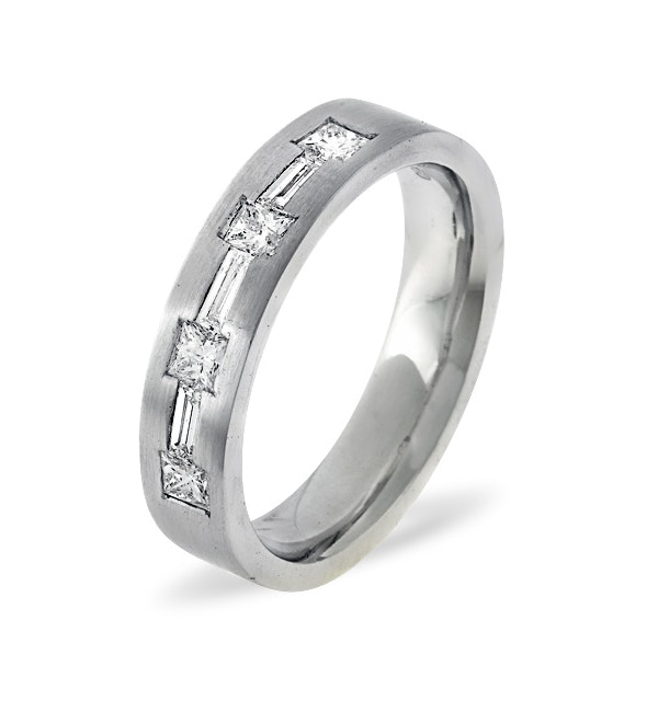 Mens 0.49ct H/Si Diamond 18K White Gold Dress Ring - image 1