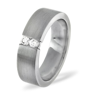 Mens 0.12ct H/Si Diamond 18K White Gold Dress Ring