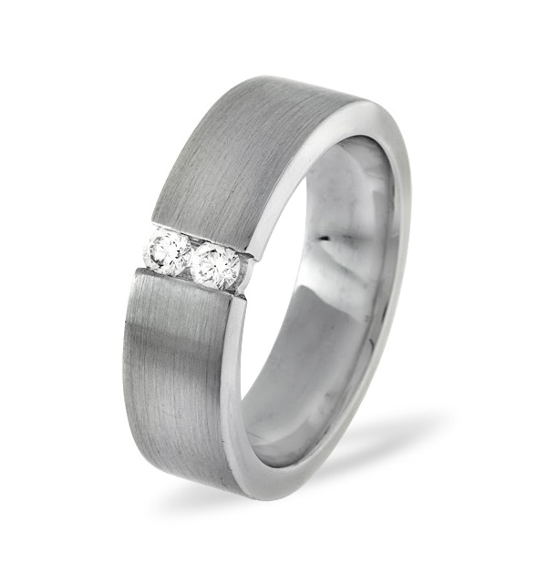 Mens 0.12ct G/Vs Diamond 18K White Gold Dress Ring - image 1