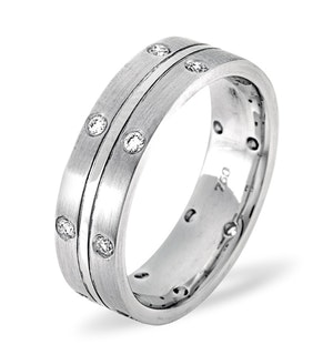 Mens 0.21ct H/Si Diamond 18K White Gold Dress Ring