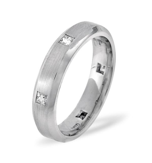 Mens 0.28ct H/Si Diamond 18K White Gold Dress Ring - image 1