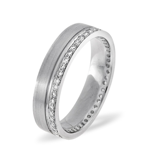 Mens 0.27ct H/Si Diamond 18K White Gold Dress Ring - image 1