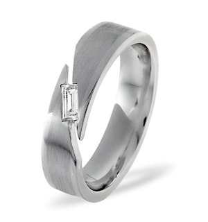 Mens 0.07ct G/Vs Diamond 18K White Gold Dress Ring