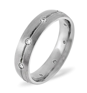 Mens 0.14ct G/Vs Diamond 18K White Gold Dress Ring