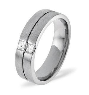 Mens 0.16ct H/Si Diamond 18K White Gold Dress Ring