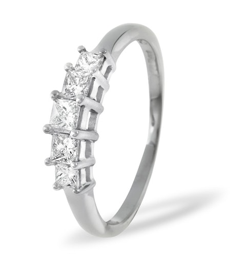 Lucy 18K White Gold 5 Stone Princess Diamond Eternity Ring 0.50CT H/SI - image 1