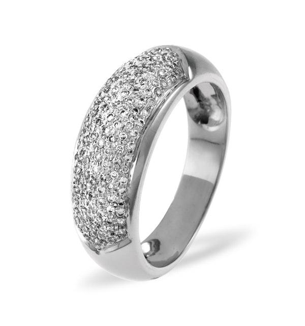 18K White Gold Diamond Pave Ring 0.64ct H/si - image 1