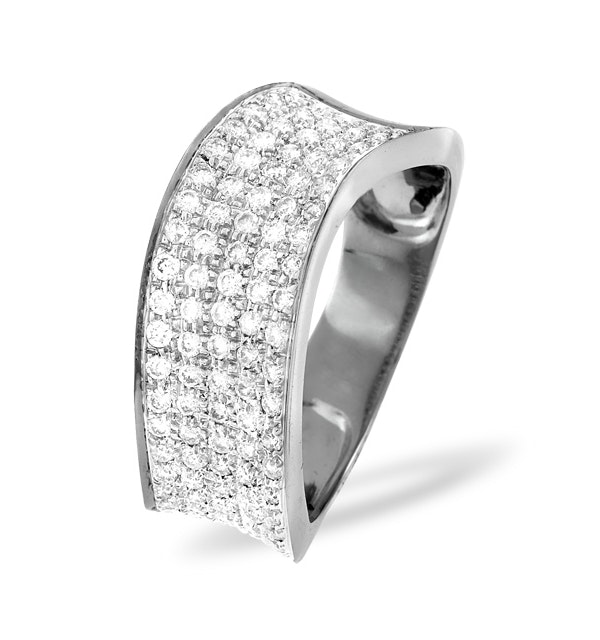 18K White Gold Diamond Pave Ring 0.63ct H/si - image 1