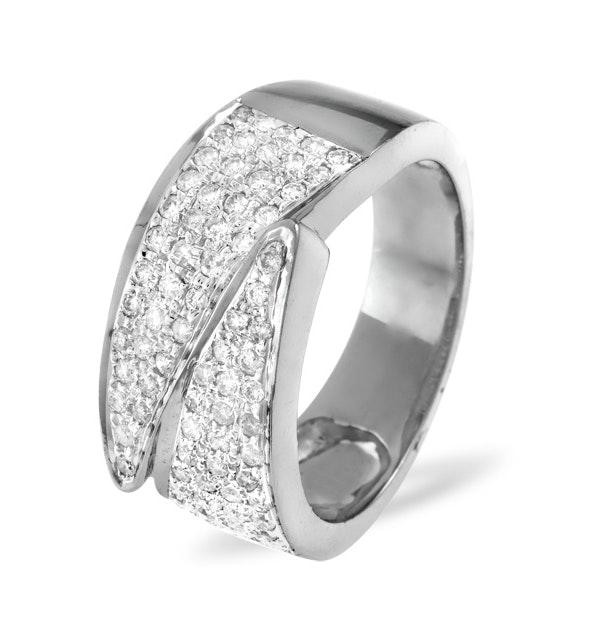 18K White Gold Diamond Pave Ring 0.62ct H/si - image 1
