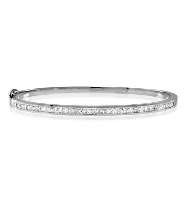 18K White Gold Diamond Bangle 1.50ct H/Si - image 1