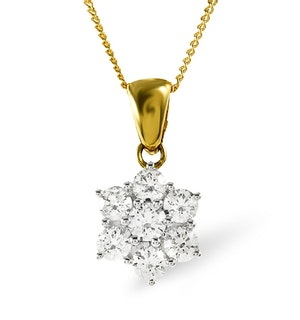 18K Gold Diamond Cluster Pendant 1.00CT H/SI