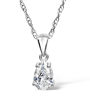 Keira 18K White Gold Pear Shape Diamond Pendant 0.33CT H/SI