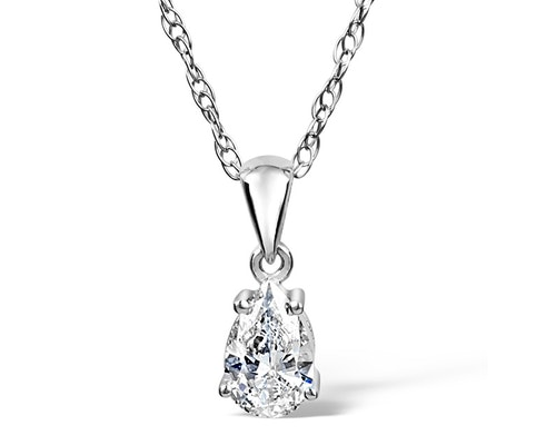 Pear Shaped Diamond Solitaire Pendants and Necklaces