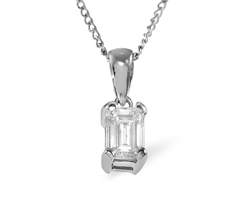 Emerald Cut Diamond Pendants and Necklaces
