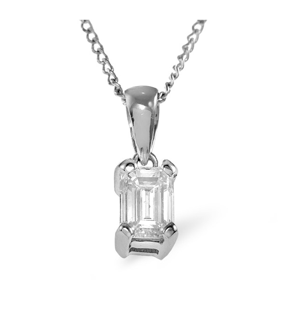 Alice Emerald Cut Platinum Diamond Pendant Necklace 0.50CT H/SI - image 1