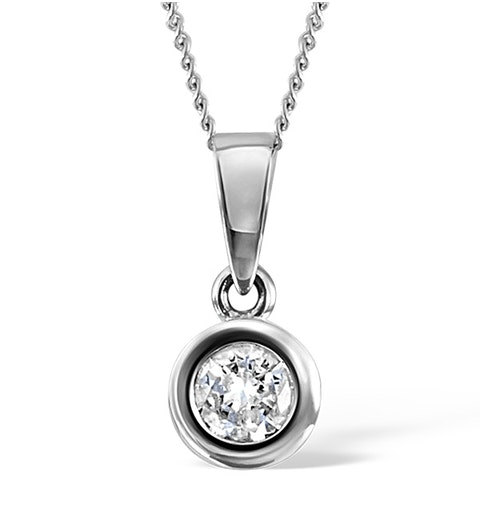 Certified Diamond 1.00CT Emily 18K White Gold Pendant E/VS2 - image 1