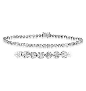 Ava Diamond Cluster Bracelet 3.00ct G/Vs Quality set in 18K White Gold
