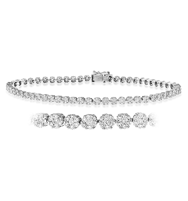Ava Diamond Cluster Bracelet 3.00ct G/Vs Quality set in 18K White Gold - image 1