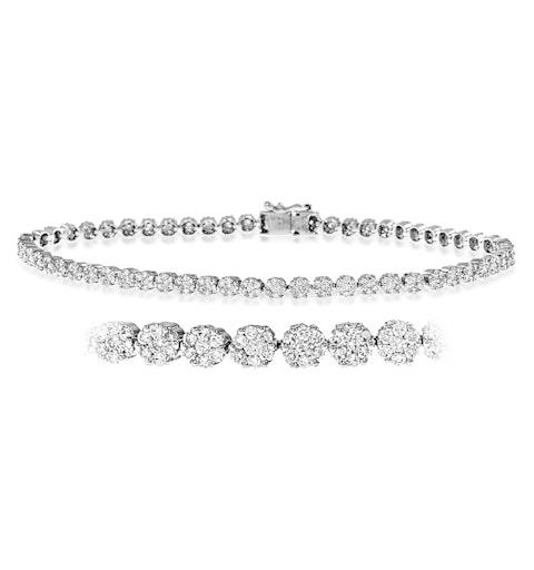 Ava Diamond Cluster Bracelet 7.00ct H/Si Quality set in 18K White Gold - image 1