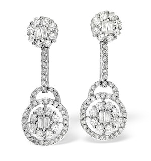 18K White Gold Diamond Earring 1.26ct H/Si