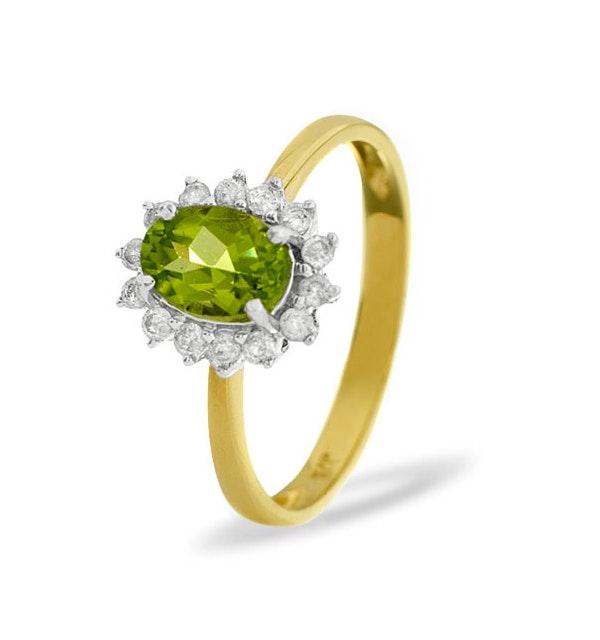 Peridot 7 x 5mm And Diamond 9K Yellow Gold Ring - image 1