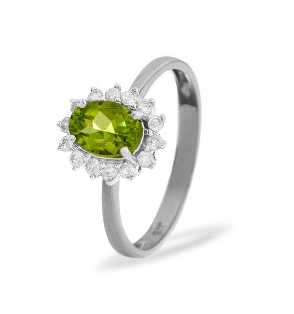 Peridot 7 x 5mm And Diamond 9K White Gold Ring - image 1