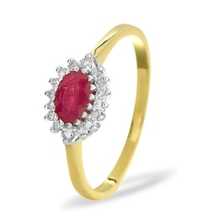 Ruby 6 x 4mm And Diamond 18K Gold Ring  FET21-T