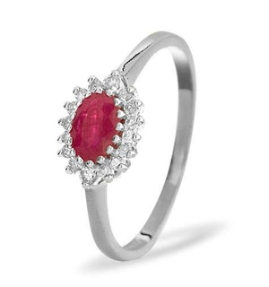 Ruby 6 x 4mm And Diamond 18K White Gold Ring  FET21-TY